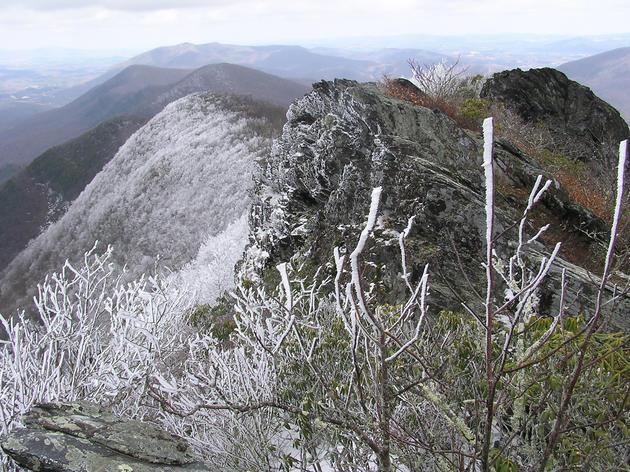 Amphibolite mountains in wintertime