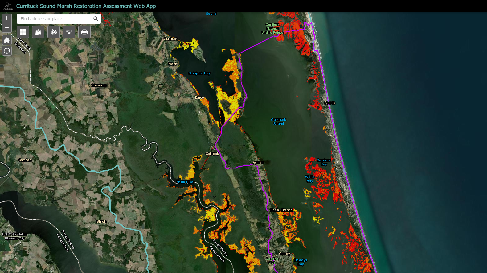 The Currituck Sound Marsh Restoration Assessment Web App.