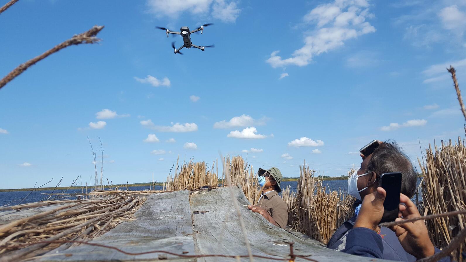 The ECSU drone team at Pine Island.