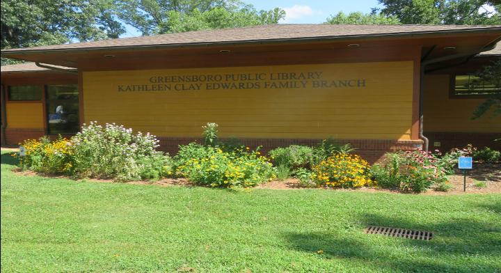 Native plant garden at a Greensboro library.