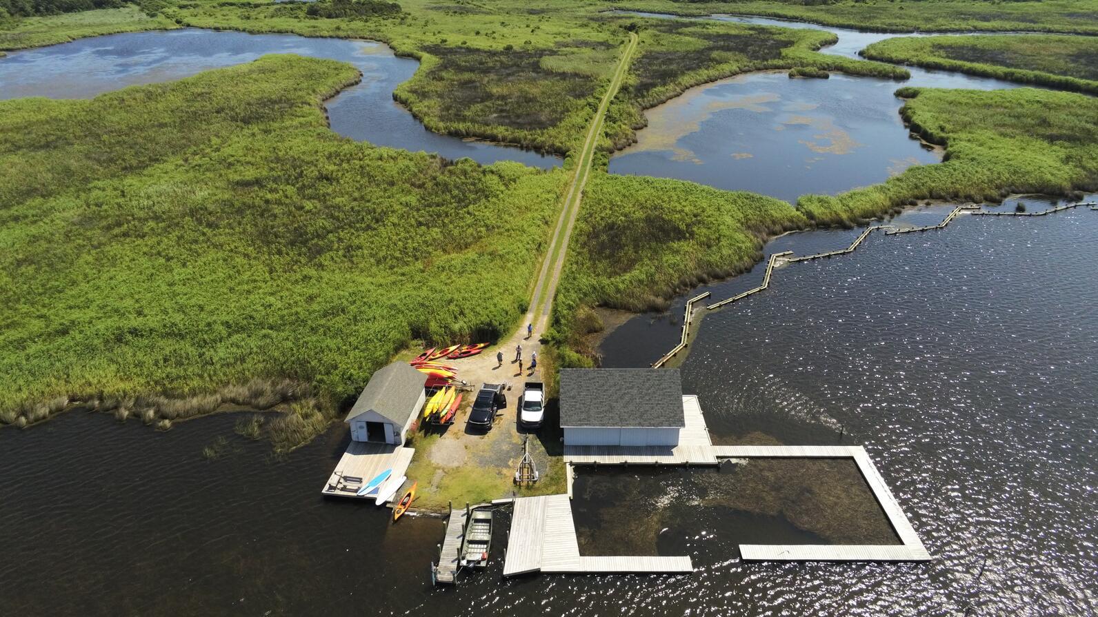 Drone team takes Pine Island footage.