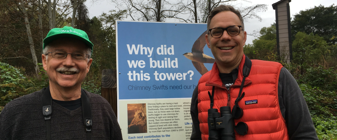 Tom Tribble and Andrew Hutson with a Chimney Swift Tower.
